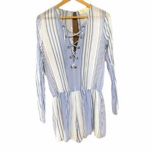 VINTAGE HAVANA blue white striped romper